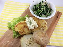 Kulina - Crusted Whote Fish with Garlic Cream Sauce dan Sautee Spinach